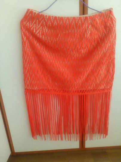 ochirly欧时力新女装蕾丝拼接流苏中腰短款包臀裙半裙1HY2074990 橙红140 M(165/70A) 晒单图