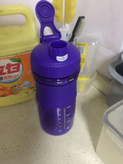 龙仕翔 防 蛋白粉摇摇杯漏塑料杯奶昔杯酵素杯健身运动水杯带刻度搅拌摇杯大容量旅行水杯 5个批发650ml(2个绿色+2个蓝色+1个紫色) 晒单图