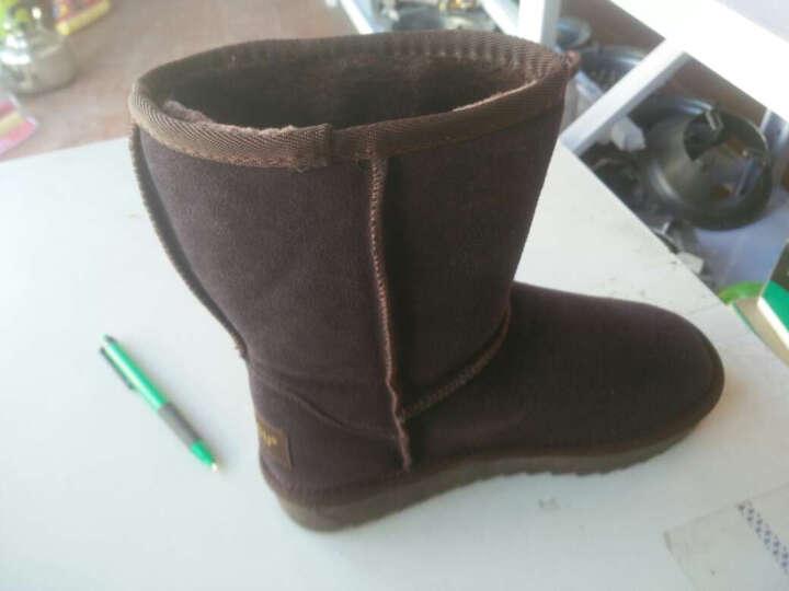 Qu&Gu 雪地靴女 中筒靴女靴冬季翻毛牛皮加绒保暖防滑平底休闲女士棉鞋 咖啡色 35 晒单图