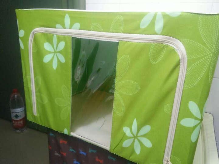 收纳箱整理箱储物箱塑料可视特大号牛津布衣物棉被子收纳袋收纳柜收纳包钢架整理袋衣物收纳盒 红色点点 100L (三钢架) 晒单图