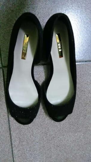 鞋柜shoebox1春季新款女鞋鱼嘴鞋时尚粗跟套脚单鞋女 金色 35 晒单图