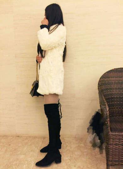 红粉闺秀皮草2018新款中长款獭兔毛皮草外套女立领修身皮草大衣清仓特价 白色 M 晒单图