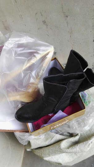 莎美茜女靴真皮马丁靴女士中跟粗跟加绒保暖棉鞋女靴妈妈鞋欧美风潮流中筒靴子女 黑色厚 38 晒单图