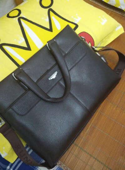 仑威堡尔RUNWEBOER商务手提男包男士公文包韩版休闲功能皮包 8632升级版棕色 晒单图