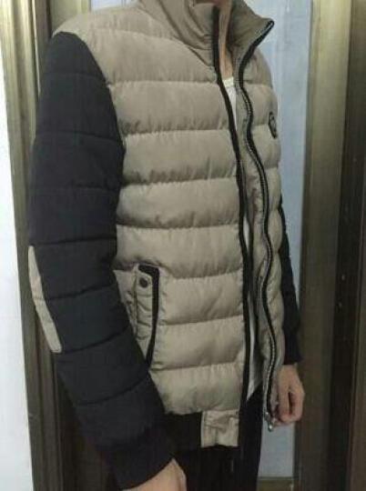 白灰楼 棉衣男2016冬季新款休闲保暖修身男士精品棉服 拼接撞色外套男 8809卡其色 4XL 晒单图
