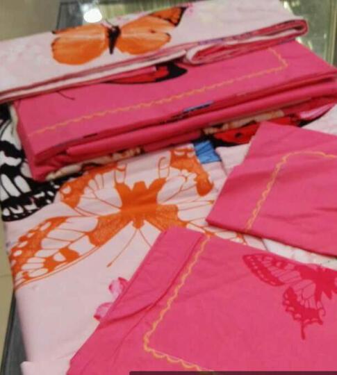 维秋 全棉磨毛四件套纯棉加厚保暖大红结婚庆床上用品套件 小可爱--粉 2米床(适合被芯220*240) 晒单图