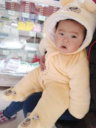 班纳班纳 婴儿冬天连体衣加厚保暖新生儿外出服棉袄男女宝宝珊瑚绒0-3-6-9-12个月 黄小熊加厚(包脚) 建议6-9个月宝宝 晒单图