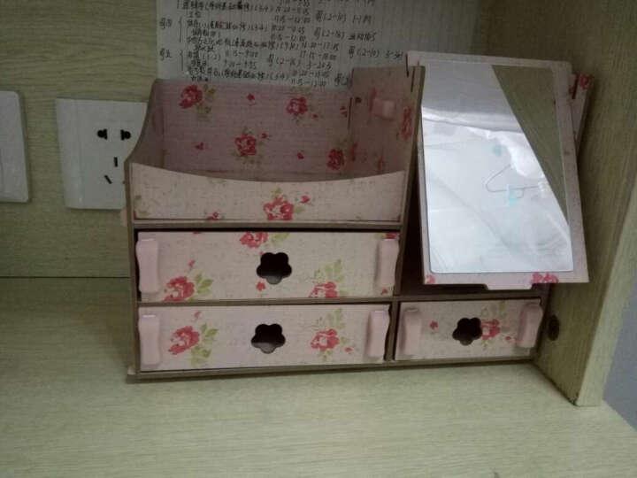 情侣礼物化妆收纳盒化妆镜创意抽纸盒母亲节520礼物生日礼物送女友女生 粉花镜子款 晒单图