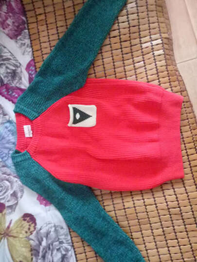 琥珀寻2016秋冬儿童中大童男童针织衫毛衣小口袋外套 橙色 110 晒单图