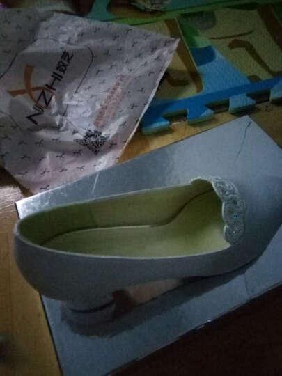 单鞋女粗跟时尚水钻浅口女鞋新款韩版圆头百搭中跟皮鞋女工作鞋女 ML6X303白色 37 晒单图