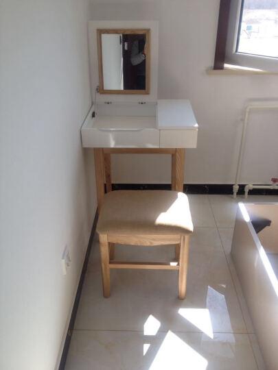 总度 小户型梳妆台 简约现代北欧烤漆实木化妆桌书桌卧室翻盖妆台 妆台+妆凳 晒单图