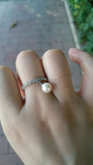 PEARLONA珍珠戒指女纯银日韩满钻简约指环天然淡水珍珠个性创意 粉色珍珠 晒单图