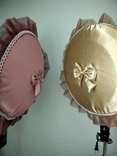 骆易家 欧式布艺蕾丝圆形电风扇罩风扇套防尘罩 曼纱魅影 银灰 直径45cm(适用直径42-48m) 晒单图