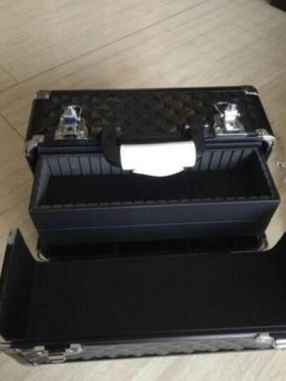 手提式化妆箱化妆品收纳盒化妆包 黑红彩条加大双锁扣 晒单图