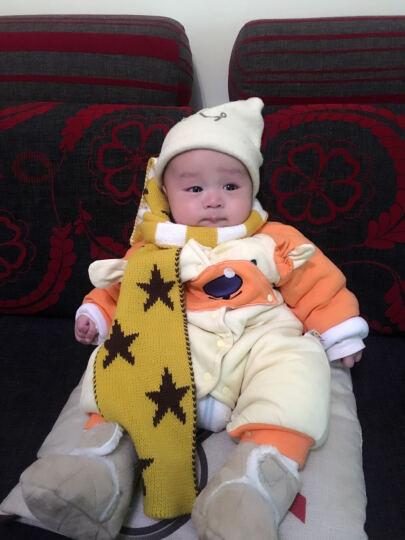 婴儿帽子秋冬男女童宝宝帽子围巾手套秋冬1-2岁婴儿帽子3-6-12-24个月儿童毛线帽套装 闪电两件套 灰色 6个月-2岁 晒单图