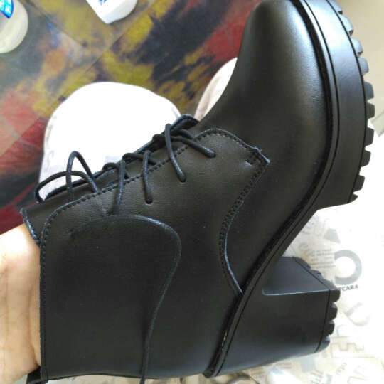 圣诗丹特秋冬女短靴马丁靴女靴子女马丁靴鞋子粗跟高跟厚底防水台马丁靴 女 黑色-皮里 37 晒单图