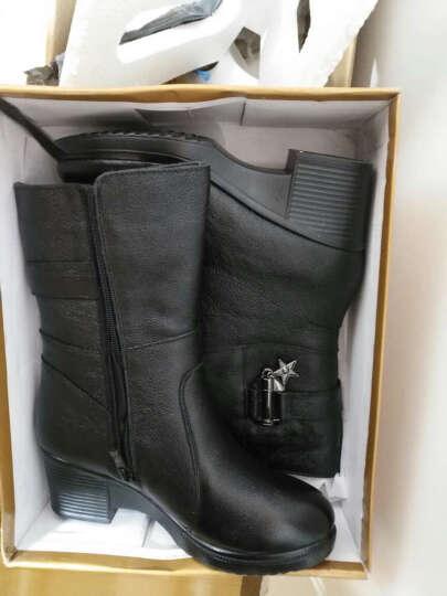 莎美茜女靴真皮马丁靴女士中跟粗跟加绒保暖棉鞋女靴妈妈鞋欧美风潮流中筒靴子女 黑色加绒 37 晒单图