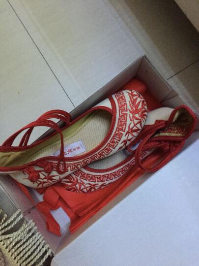 新款中国风青花瓷绣花布鞋大童女单鞋民族风绣花舞蹈鞋 蓝色 39码 晒单图
