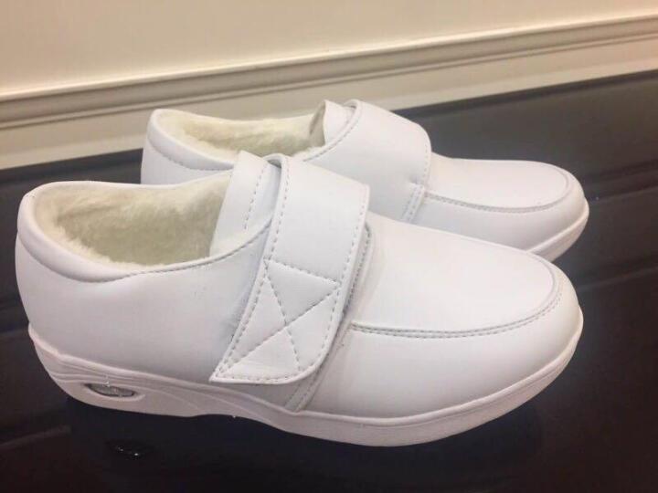 冬季白色护士鞋加绒棉鞋坡跟真皮防滑气垫工作鞋妈妈鞋小白鞋休闲 白色 38 晒单图