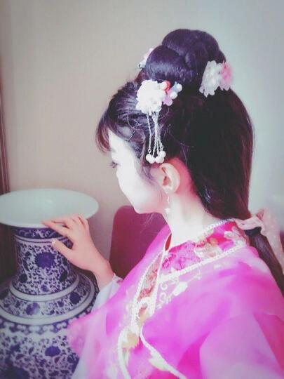 古风汉服头饰发簪子古代步摇流苏儿童发夹女 粉红色+天蓝色 一套包邮 晒单图