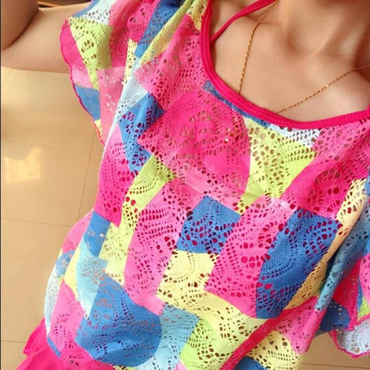 鼠爱爱 泳衣女新款分体裙式三件套显瘦聚拢钢托遮肚比基尼温泉泳装 玫红色 L 晒单图