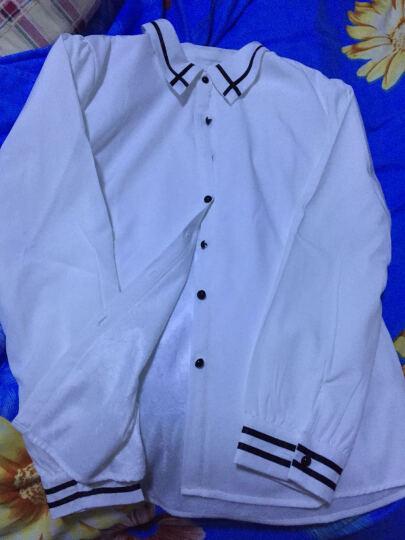 唯美加分 长袖衬衫女2017秋冬季白色衬衣女装加绒加厚韩版修身OL职业保暖雪纺衫 粉色-加绒 XXL(建议126斤-135斤) 晒单图