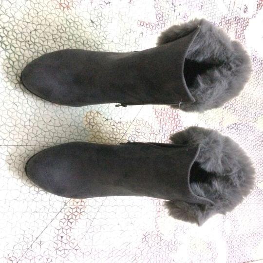 歌山品悦 秋冬新款时尚潮女短靴子粗跟女靴 军绿色 38 晒单图
