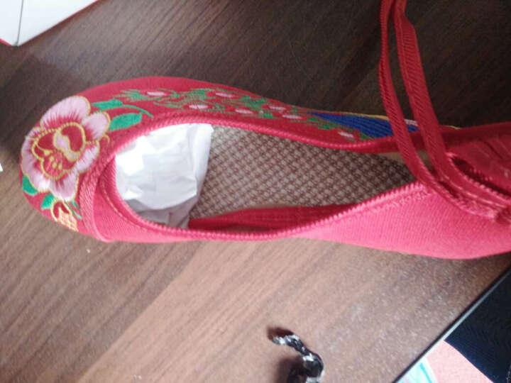 老北京绣花布鞋 16 红尾孔雀 婚鞋民族风广场舞女鞋LLX 黑色 37 晒单图