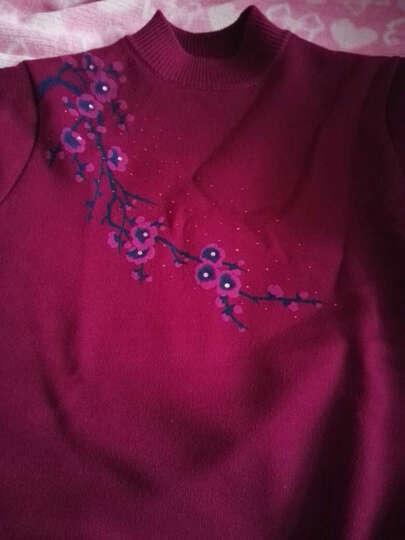 莎丽绒 中老年女装春秋款新品妈妈装针织衫宽松大码中长款连衣裙上衣T恤 米驼色 2XL 晒单图