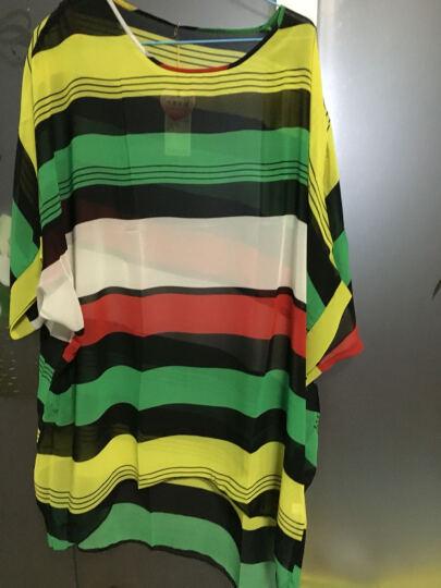 Yobel 沙滩度假蜜月比基尼罩衫宽松印花薄性感泳衣外搭罩衫女沙滩防晒外套 比基尼罩衫衣 墨绿大条纹 彩虹小条纹 晒单图