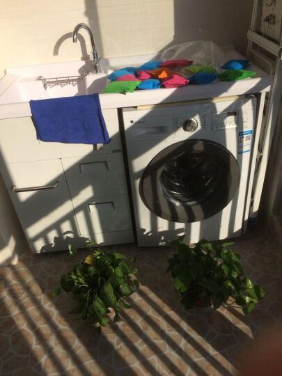 格雷诺 不锈钢滚筒洗衣机柜带搓板阳台洗衣机柜石英石洗衣池盆浴室柜组合 白色柜/1.3米左白盆 晒单图