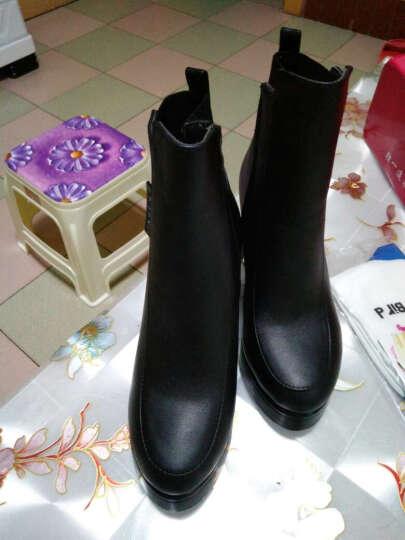 欧靓妮秋冬新款短靴女时尚马丁靴女单靴粗跟女靴厚底机车靴女靴子816 黑色加绒 36 晒单图