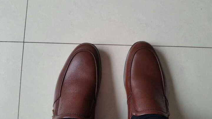康奈男士休闲鞋春秋季纯色轻质圆头金属套脚男鞋A51167727休闲皮鞋 深棕色 41 晒单图