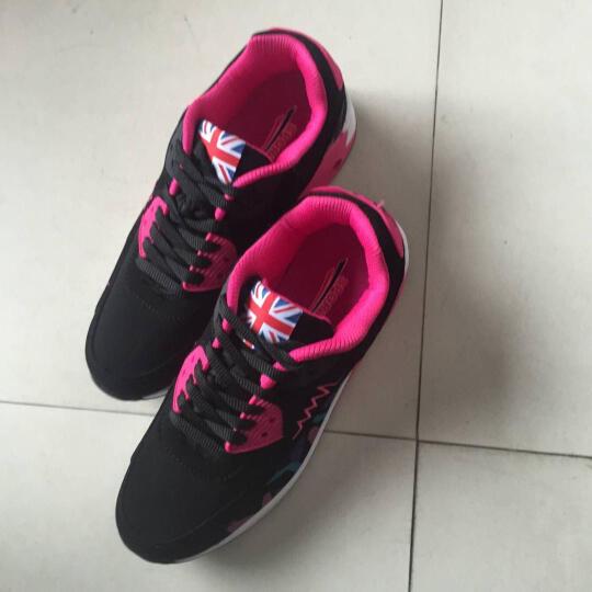 DCK 休闲鞋女鞋厚底内增高女网面气垫跑步小白鞋平底系带学生运动鞋 957玫红色  单鞋 38 晒单图