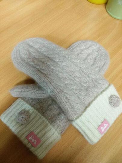芭比(Barbie)手套 芭比时尚流行潮流女士手套冬季保暖女士针织手套 灰色 晒单图