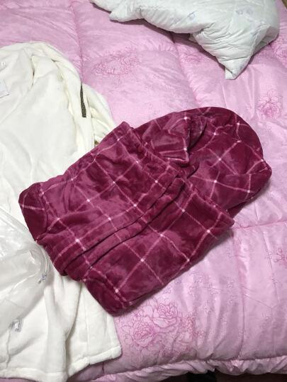 南极人法兰绒睡衣女男士睡袍秋冬新款加厚珊瑚绒浴袍情侣家居服加长保暖款 女士带帽粉色 L 晒单图