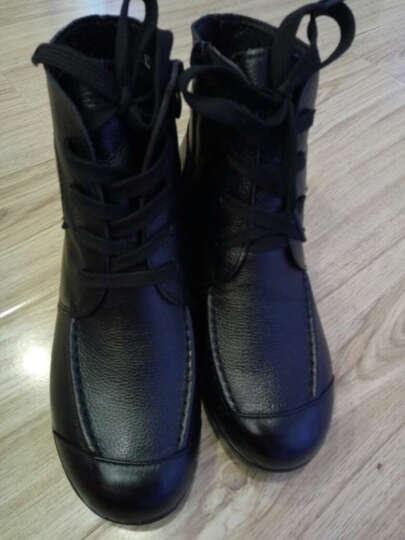步莱恩 新款防滑加绒中老年人妈妈鞋坡跟防滑大码棉鞋女士保暖棉皮鞋短靴软面休闲女靴子 棕色厚绒 41 晒单图