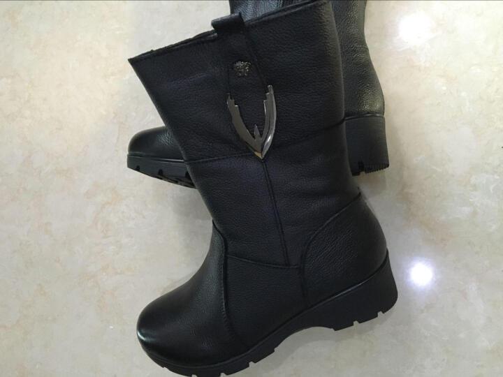 莎美茜女靴真皮马丁靴女士加绒保暖棉鞋舒适妈妈鞋欧美风潮流中筒靴子女 黑色厚里 36 晒单图