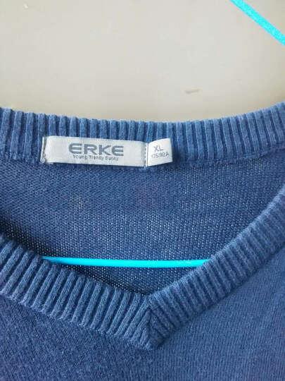 鸿星尔克男针织衫ERKE线衫薄款线衣美式简约V领套头针织卫衣 藏蓝色 XL 晒单图
