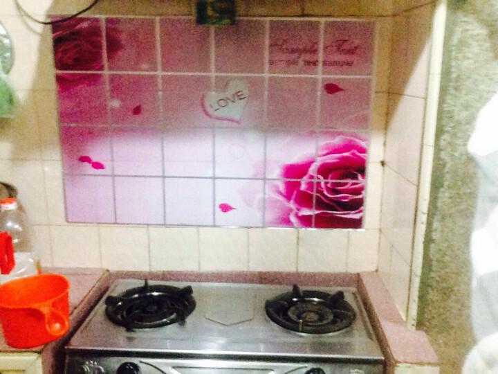 厨房防油贴纸透明玻璃贴瓷砖贴防水墙贴油烟机橱柜贴纸 酒杯玫瑰图案90*60 晒单图