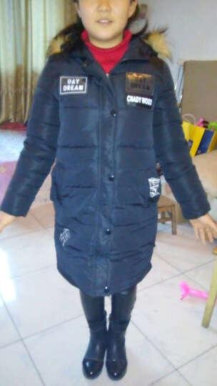 蜡笔猫童装2018女童冬装儿童棉衣韩版加长加厚女孩外套童装女羽绒棉服上衣 黑色 160cm(建议身高160左右穿着) 晒单图