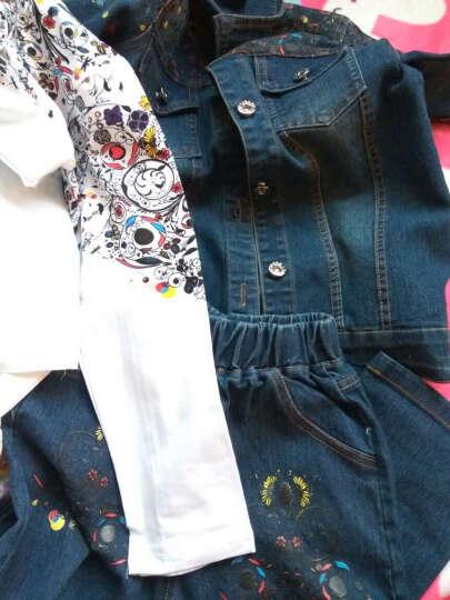 青蛙家族童装女童套装裙两件套中大儿童上衣裙子T恤打底衫春夏款花朵牛仔套装裙C056 白T恤+牛仔蓝裙 140码适合身高125-135cm 晒单图