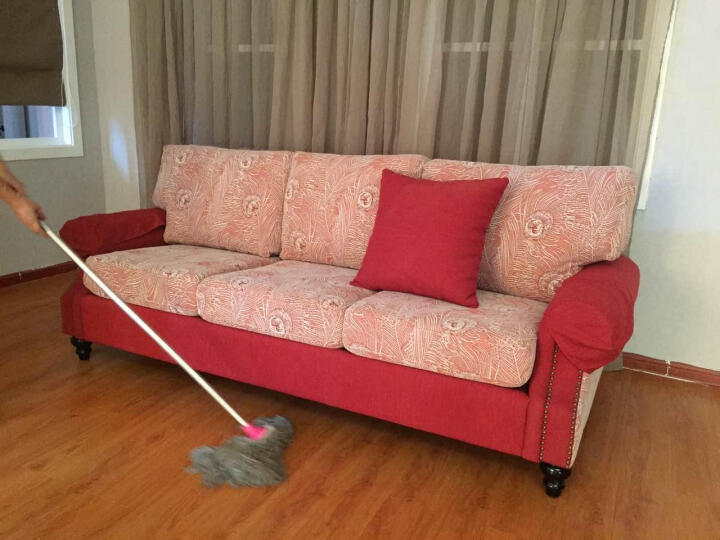 迪斯名媛 沙发 美式休闲布艺沙发 乡村客厅家具 小户型组合沙发 新款单人三人沙发 浅灰色 家庭三人 晒单图