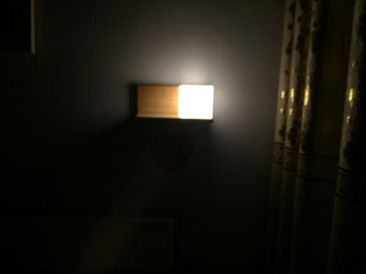 旭光普利  现代简约卧室床头壁灯实木创意led中式客厅过道楼梯带开关小夜灯 1305黄金茵曼左款 双色6瓦led灯泡 晒单图