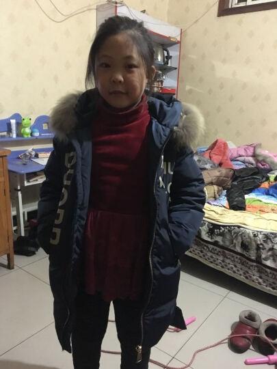 儿童羽绒服男女中长款女童加厚外套2017冬季新款男孩子女孩子韩版中大童冬装童装 藏青色 140建议身高140公分左右 晒单图