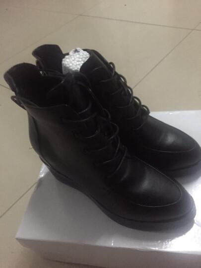 哥策2017新款马丁靴英伦系带女靴内增高短靴坡跟女棉靴裸靴 黑色绒里 38 晒单图