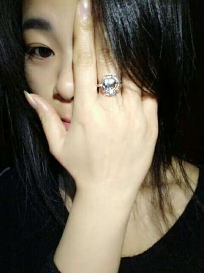 TSL谢瑞麟 18K金黑色钻石戒指 18K黄白戒指 黑色戒指 史努比系列约1分2颗钻  60539 定价类 15#圈口 晒单图