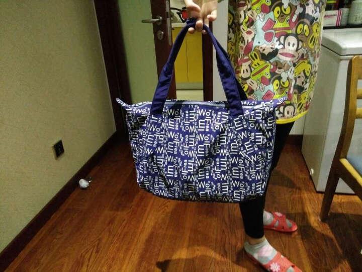 狼域2017新款大容量旅行包单肩手提折叠包袋尼龙包水饺购物包袋 深蓝色 晒单图