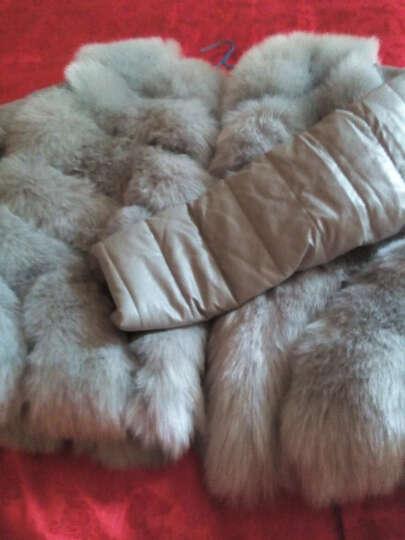 法泊美2017冬季新款仿羊剪绒女装皮草外套一体狐狸毛领羊毛大衣中长款 820 灰色 XL 晒单图
