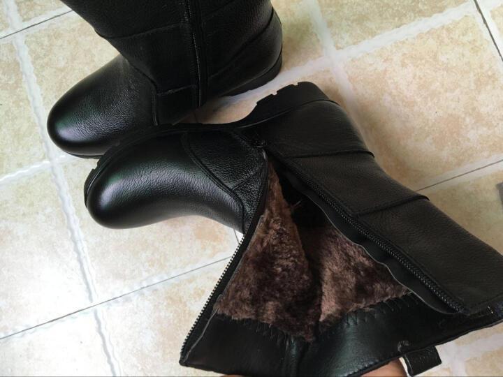 莎美茜女靴真皮马丁靴女士加绒保暖棉鞋舒适妈妈鞋欧美风潮流中筒靴子女 816黑色绒里 35 晒单图